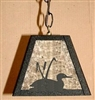 Rustic Pendant Swag Light- Loon with Cattails Design