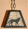 Rustic Pendant Swag Light- Wolf Design