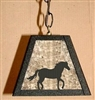 Rustic Pendant Swag Light- Horse Design