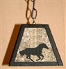 Rustic Pendant Swag Light- Galloping Horse Design