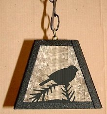 Rustic Pendant Swag Light- Chickadee Design
