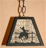 Rustic Pendant Swag Light- Bucking Bronco Design
