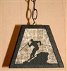 Rustic Pendant Swag Light- Skier Design