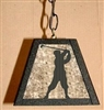 Rustic Pendant Swag Light- Golfer Design