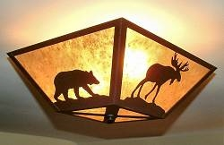 Square Ceiling Light- Moose and Bear Design