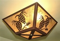 Square Ceiling Light- Pinecone Design