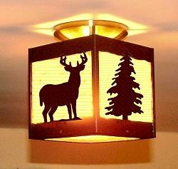 Single Bulb Ceiling Light- Deer and Tree Design