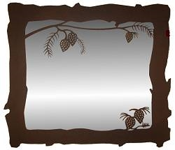 Big Horizontal Mirror- Pinecone Design