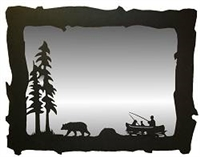 Big Horizontal Mirror- Fisherman and Bear Design