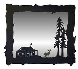 Big Horizontal Mirror- Deer and Cabin Design