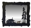 Big Horizontal Mirror- Wolf and Cabin Design