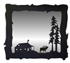 Big Horizontal Mirror- Elk and Cabin Design