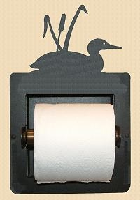 Recessed Toilet Paper Holder- Loon with Cattails Design