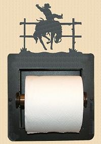 Recessed Toilet Paper Holder- Bucking Bronco Design