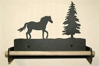 Paper Towel Holder With Wood Bar- Horse Design