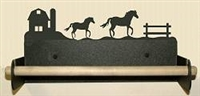 Paper Towel Holder With Wood Bar- Horse and Barn Design