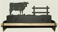 Paper Towel Holder With Wood Bar- Bull Design