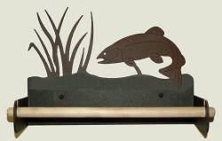 Paper Towel Holder With Wood Bar- Trout Design
