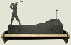 Paper Towel Holder With Wood Bar- Golfer Design