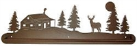 Scenery Style Towel Bar- Deer and Cabin Design