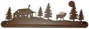 Scenery Style Towel Bar- Elk and Cabin Design