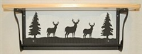 Rustic Towel Bar with Shelf- Deer Design