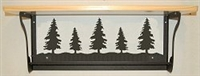 Rustic Towel Bar with Shelf- Pine Tree Design