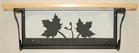 Rustic Towel Bar with Shelf- Maple Leaf Design