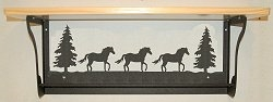 Rustic Towel Bar with Shelf- Horse Design