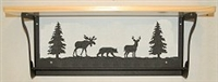 Rustic Towel Bar with Shelf- Moose, Bear, Deer Design