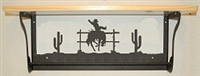 Rustic Towel Bar with Shelf- Bucking Bronco Design