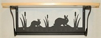 Rustic Towel Bar with Shelf- Rabbit Design
