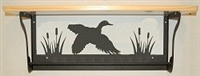 Rustic Towel Bar with Shelf- Flying Duck Design