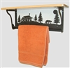 Rustic Towel Bar with Shelf- Bear and Cabin Design