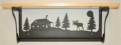 Rustic Towel Bar with Shelf- Moose and Cabin Design