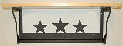 Rustic Towel Bar with Shelf- Star Design