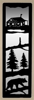 Accent Mirror Wall Art- Bear on a Log and Cabin Design