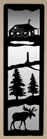 Accent Mirror Wall Art- Moose and Cabin Design