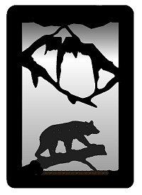 Small Accent Mirror Wall Art- Bear on a Log Design