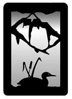 Small Accent Mirror Wall Art- Loon with Cattails Design