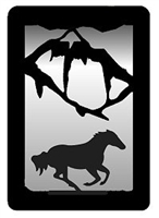 Small Accent Mirror Wall Art- Galloping Horse Design