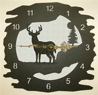 Rustic Metal Clock- Deer Design
