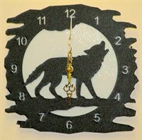 Rustic Metal Clock - Wolf Design