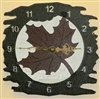 Rustic Metal Clock- Maple Leaf Design