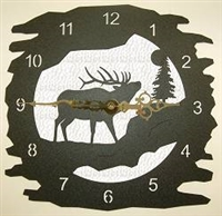 Rustic Metal Wall Clock- Elk Design