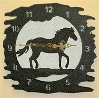 Rustic Metal Clock- Horse Design