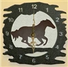 Rustic Metal Clock- Galloping Horse Design