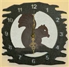 Rustic Metal Clock- Squirrel Design