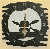 Rustic Metal Clock- Fly-Rod Fish Design