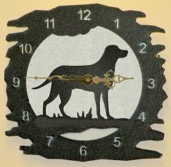 Rustic Metal Clock- Lab Retriever Design